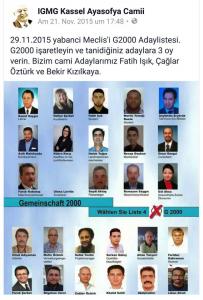 Die islamistische IGMG Kassel ruft 2015 dazu auf, die Liste G 2000 bei den Wahlen zum Kasseler Ausländerbeirat zu wählen.