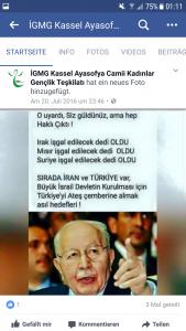 Dieses Bild dokumentiert eine judenfeindliche Aussagen des Antisemiten Necmettin Erbakan, gepostet von der IGMG Kassel.